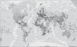 mapa mundo blanco y negro
