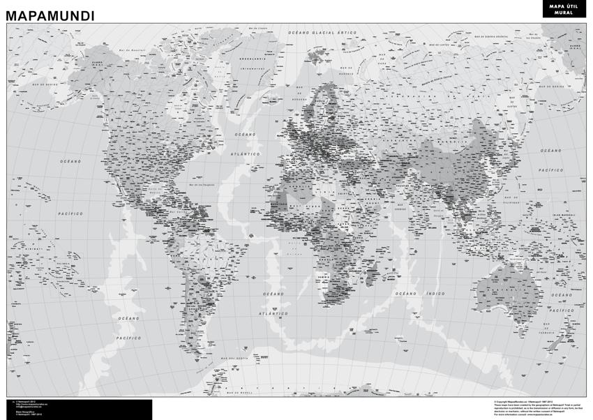 Mapamundi magnetico blanco negro
