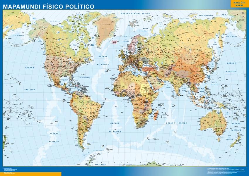 Mapamundi magnetico fisico politico