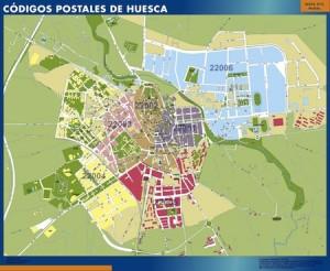 mapa magnetico Huesca codigos postales
