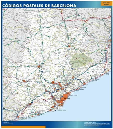 mapa magnetico barcelona provincia codigos postales