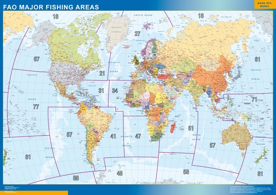 mapa magnético mundo fao areas pesca
