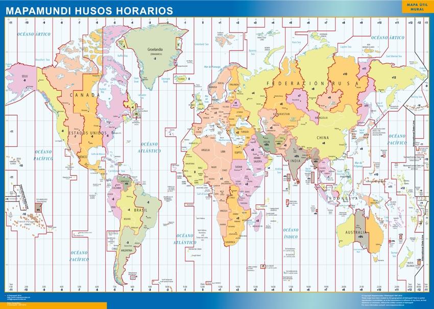 mapa magnético mundo husos horarios
