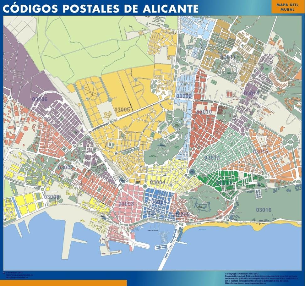 mapa magnetico codigos postales alicante