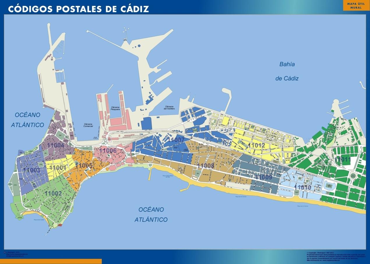mapa magnetico codigos postales cadiz