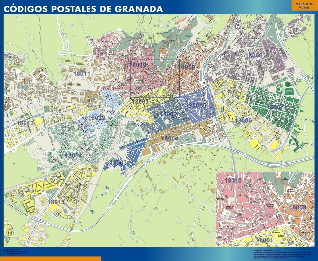 mapa magnetico codigos postales granada