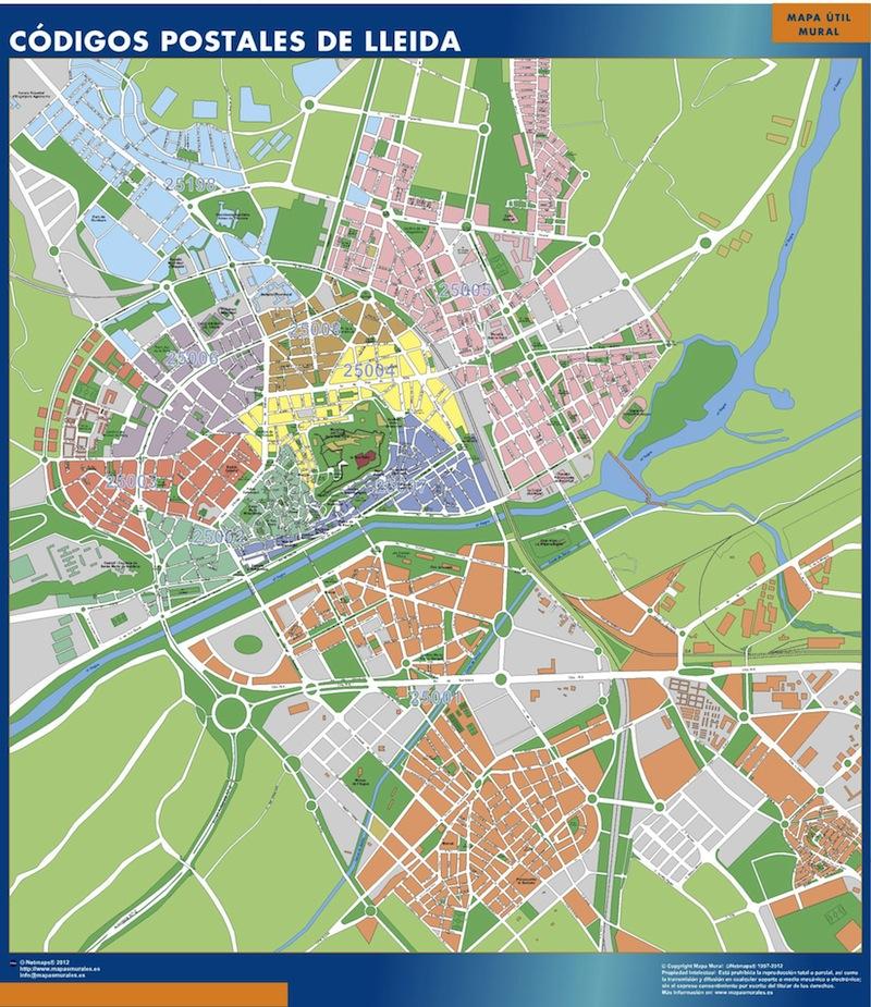 mapa magnetico codigos postales lleida