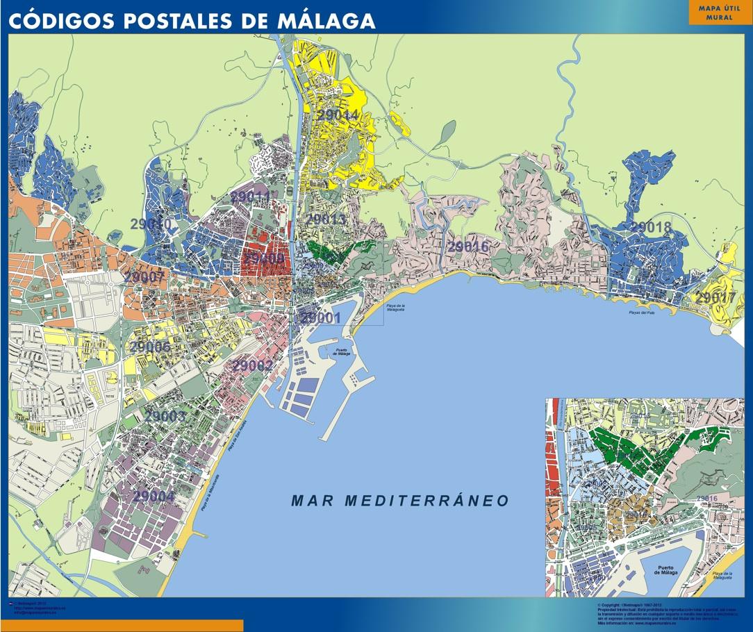 mapa magnetico codigos postales malaga