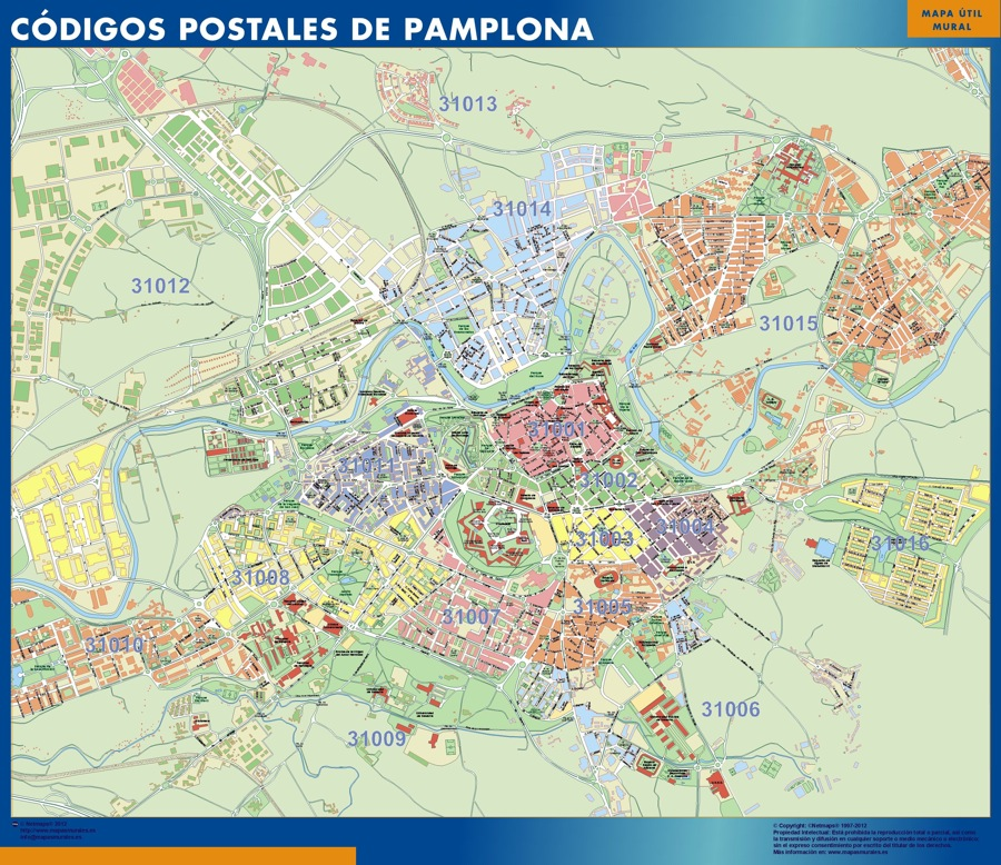 mapa magnetico codigos postales pamplona