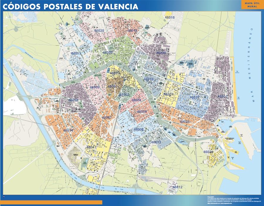 mapa magnetico codigos postales valencia