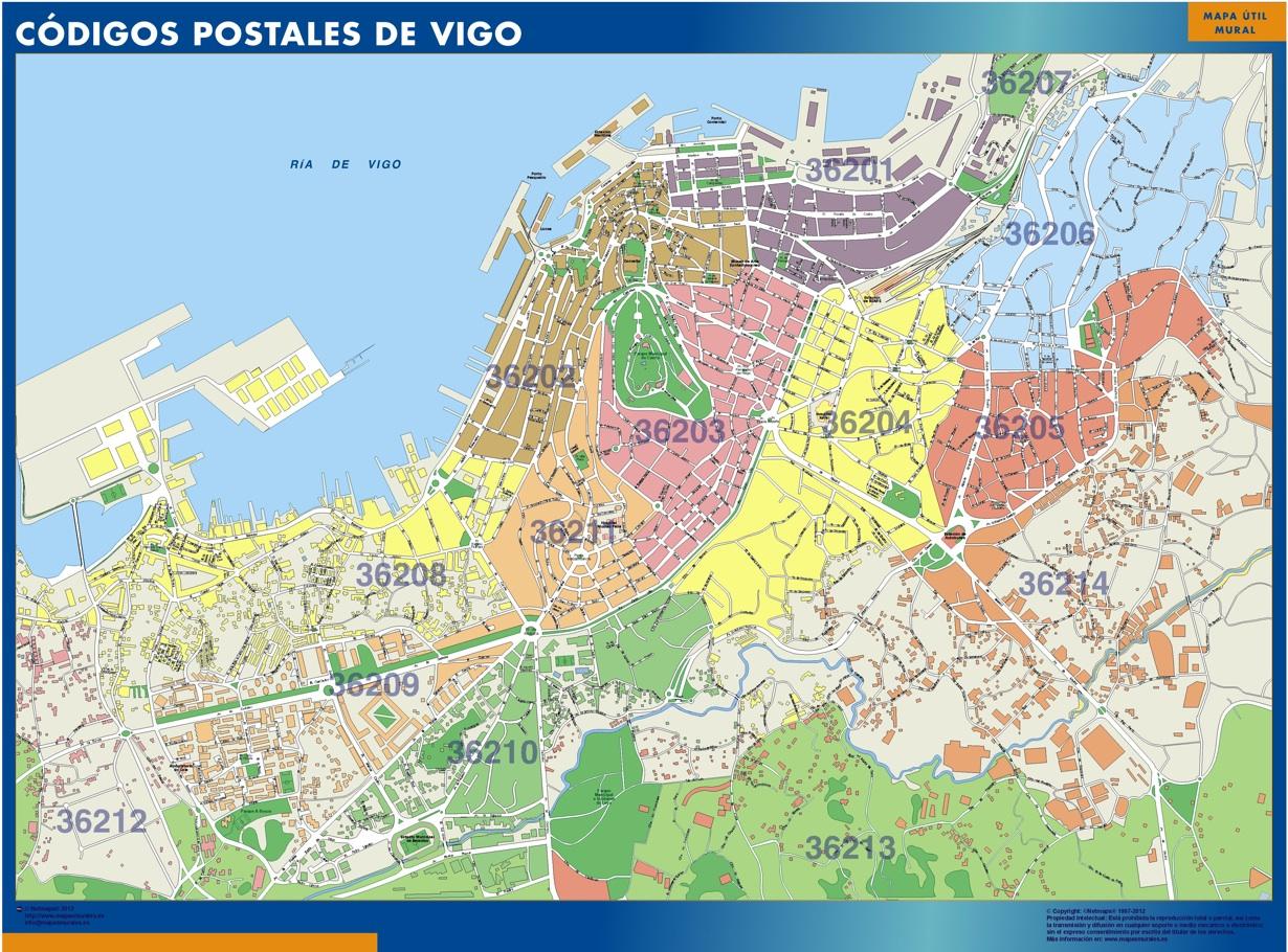 mapa magnetico codigos postales vigo