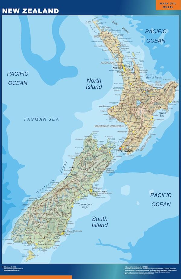 mapa magnético nueva zelanda para imanes